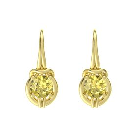 Round Yellow Sapphire 14K Yellow Gold Earring