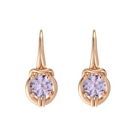 Round Rose de France 18K Rose Gold Earring