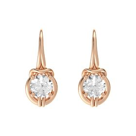 Round Rock Crystal 18K Rose Gold Earrings