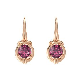 Round Rhodolite Garnet 18K Rose Gold Earrings