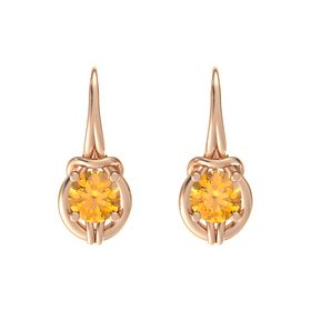 Round Citrine 18K Rose Gold Earrings