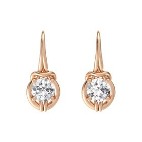 Round White Sapphire 18K Rose Gold Earrings