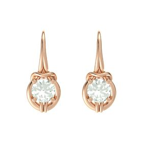 Round Green Amethyst 18K Rose Gold Earring