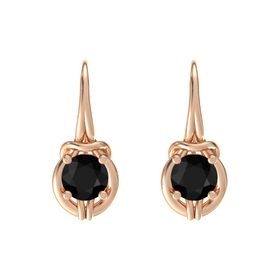 Round Black Onyx 18K Rose Gold Earring