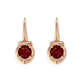 Round Ruby 18K Rose Gold Earrings