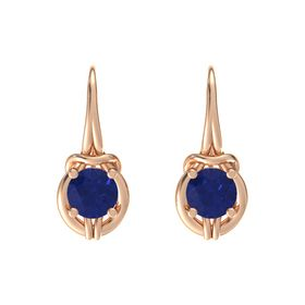Round Sapphire 18K Rose Gold Earrings