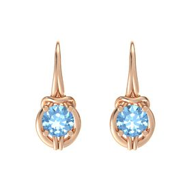 Round Blue Topaz 18K Rose Gold Earrings