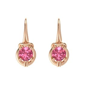 Round Pink Tourmaline 18K Rose Gold Earrings
