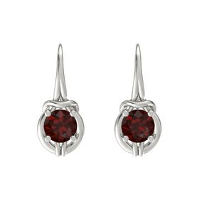 Round Red Garnet 18K White Gold Earrings