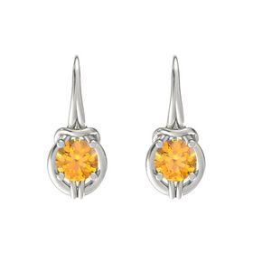 Round Citrine 18K White Gold Earring