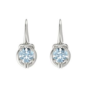Round Aquamarine 18K White Gold Earring