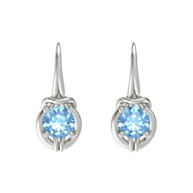 Round Blue Topaz 18K White Gold Earrings