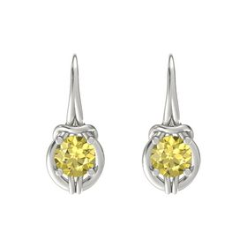 Round Yellow Sapphire 18K White Gold Earrings