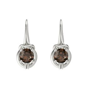 Round Smoky Quartz 18K White Gold Earring