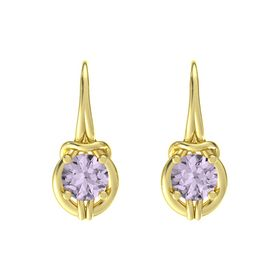 Round Rose de France 18K Yellow Gold Earring