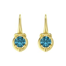 Round London Blue Topaz 18K Yellow Gold Earring