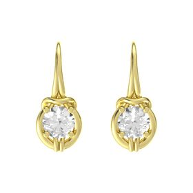 Round Rock Crystal 18K Yellow Gold Earring
