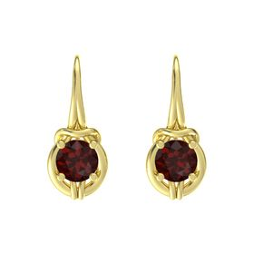 Round Red Garnet 18K Yellow Gold Earring