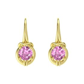 Round Pink Sapphire 18K Yellow Gold Earrings
