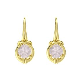 Round Rose Quartz 18K Yellow Gold Earrings