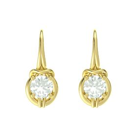 Round Green Amethyst 18K Yellow Gold Earring