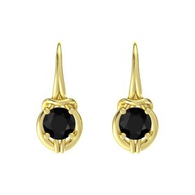 Round Black Onyx 18K Yellow Gold Earring
