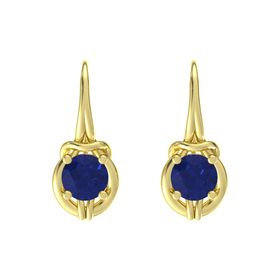 Round Sapphire 18K Yellow Gold Earrings