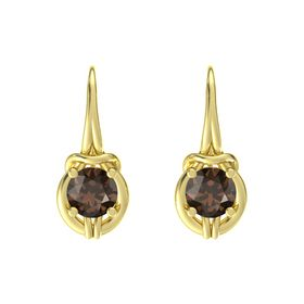 Round Smoky Quartz 18K Yellow Gold Earring