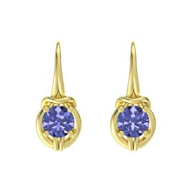 Round Tanzanite 18K Yellow Gold Earrings