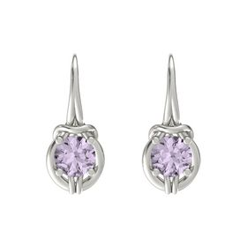 Round Rose de France Platinum Earring