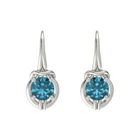 Round London Blue Topaz Platinum Earrings