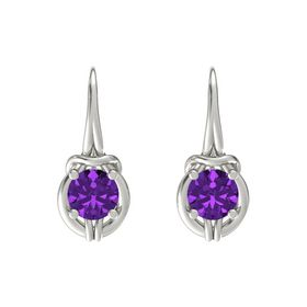 Round Amethyst Platinum Earrings