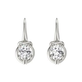 Round White Sapphire Platinum Earrings