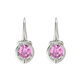 Round Pink Sapphire Platinum Earrings