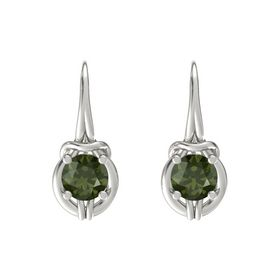 Round Green Tourmaline Platinum Earrings
