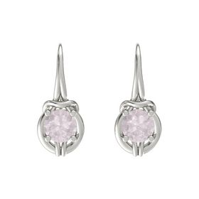 Round Rose Quartz Platinum Earring