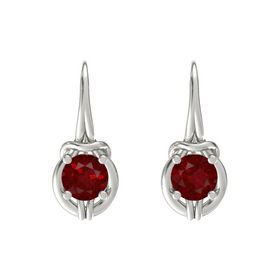Round Ruby Platinum Earring