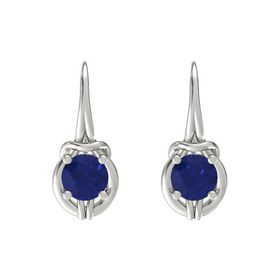 Round Sapphire Platinum Earrings