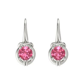 Round Pink Tourmaline Platinum Earrings
