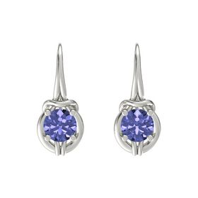 Round Tanzanite Platinum Earrings
