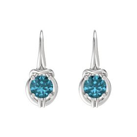 Round London Blue Topaz Sterling Silver Earrings