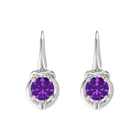 Round Amethyst Sterling Silver Earring