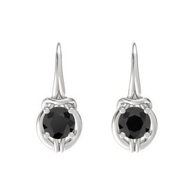 Round Black Diamond Sterling Silver Earrings