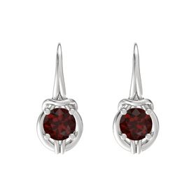 Round Red Garnet Sterling Silver Earrings