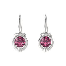 Round Rhodolite Garnet Sterling Silver Earrings