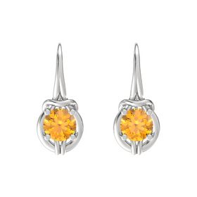 Round Citrine Sterling Silver Earring