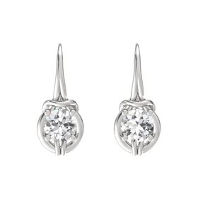 Round White Sapphire Sterling Silver Earrings