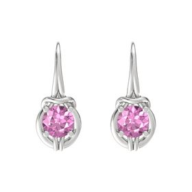 Round Pink Sapphire Sterling Silver Earrings