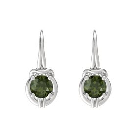 Round Green Tourmaline Sterling Silver Earrings
