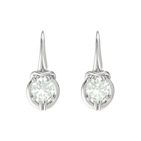 Round Green Amethyst Sterling Silver Earrings